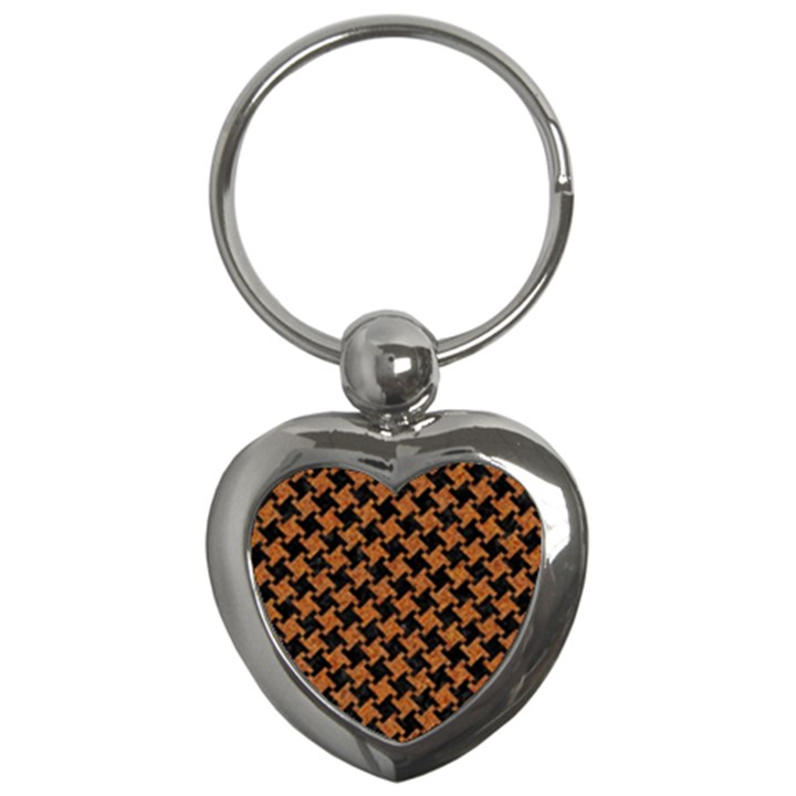 HOUNDSTOOTH2 BLACK MARBLE & RUSTED METAL Key Chains (Heart)