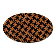 Houndstooth2 Black Marble & Rusted Metal Oval Magnet
