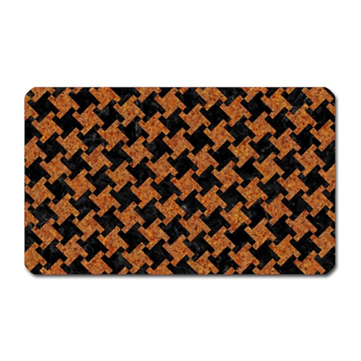 HOUNDSTOOTH2 BLACK MARBLE & RUSTED METAL Magnet (Rectangular)