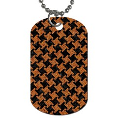 Houndstooth2 Black Marble & Rusted Metal Dog Tag (two Sides) by trendistuff