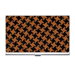 Houndstooth2 Black Marble & Rusted Metal Business Card Holders by trendistuff