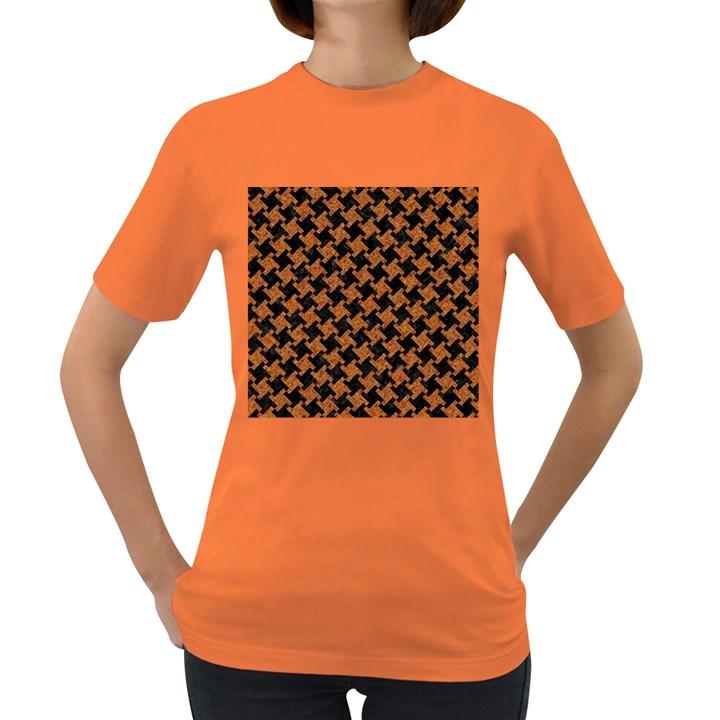 HOUNDSTOOTH2 BLACK MARBLE & RUSTED METAL Women s Dark T-Shirt
