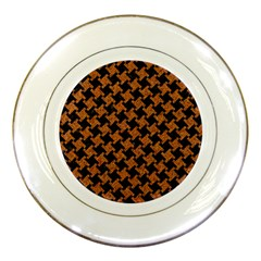 Houndstooth2 Black Marble & Rusted Metal Porcelain Plates