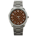 HOUNDSTOOTH2 BLACK MARBLE & RUSTED METAL Sport Metal Watch Front