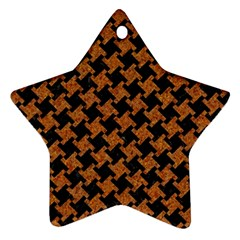 Houndstooth2 Black Marble & Rusted Metal Star Ornament (two Sides) by trendistuff