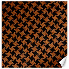Houndstooth2 Black Marble & Rusted Metal Canvas 16  X 16
