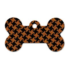 Houndstooth2 Black Marble & Rusted Metal Dog Tag Bone (two Sides) by trendistuff
