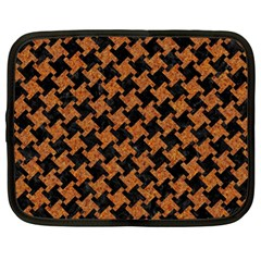 Houndstooth2 Black Marble & Rusted Metal Netbook Case (large) by trendistuff