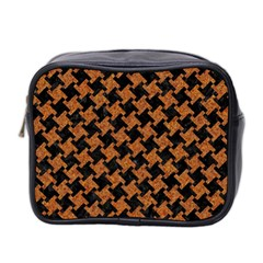 Houndstooth2 Black Marble & Rusted Metal Mini Toiletries Bag 2 Side