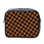 HOUNDSTOOTH2 BLACK MARBLE & RUSTED METAL Mini Toiletries Bag 2-Side Front