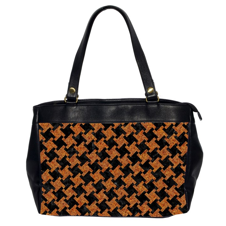 HOUNDSTOOTH2 BLACK MARBLE & RUSTED METAL Office Handbags (2 Sides)