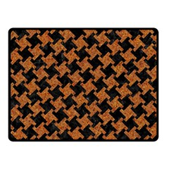 Houndstooth2 Black Marble & Rusted Metal Fleece Blanket (small)