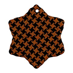 Houndstooth2 Black Marble & Rusted Metal Ornament (snowflake)