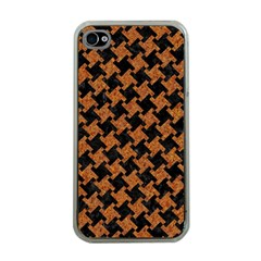 Houndstooth2 Black Marble & Rusted Metal Apple Iphone 4 Case (clear) by trendistuff