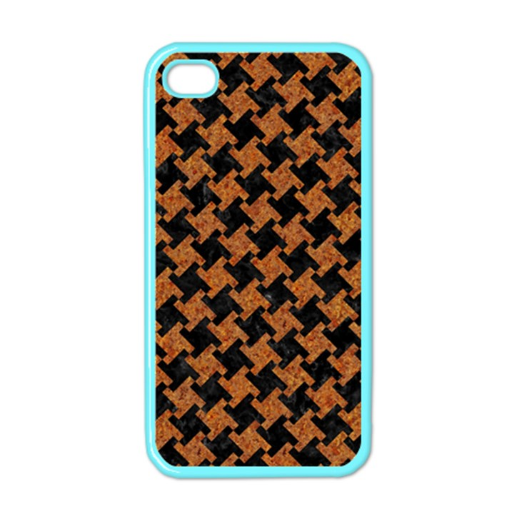 HOUNDSTOOTH2 BLACK MARBLE & RUSTED METAL Apple iPhone 4 Case (Color)