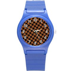 Houndstooth2 Black Marble & Rusted Metal Round Plastic Sport Watch (s) by trendistuff