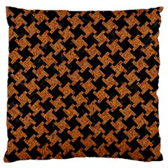 Houndstooth2 Black Marble & Rusted Metal Large Cushion Case (two Sides) by trendistuff