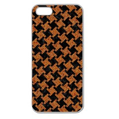 Houndstooth2 Black Marble & Rusted Metal Apple Seamless Iphone 5 Case (clear) by trendistuff