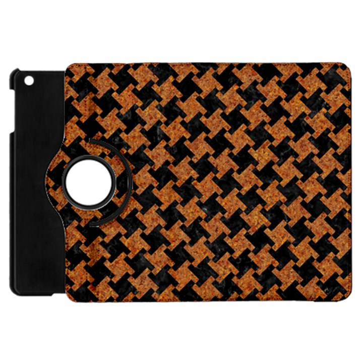 HOUNDSTOOTH2 BLACK MARBLE & RUSTED METAL Apple iPad Mini Flip 360 Case