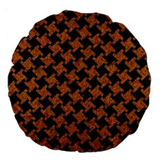 Houndstooth2 Black Marble & Rusted Metal Large 18  Premium Round Cushions by trendistuff