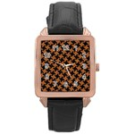 HOUNDSTOOTH2 BLACK MARBLE & RUSTED METAL Rose Gold Leather Watch  Front