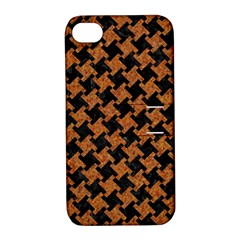 Houndstooth2 Black Marble & Rusted Metal Apple Iphone 4/4s Hardshell Case With Stand by trendistuff