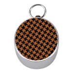 HOUNDSTOOTH2 BLACK MARBLE & RUSTED METAL Mini Silver Compasses Front