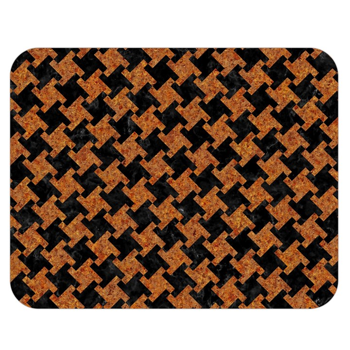 HOUNDSTOOTH2 BLACK MARBLE & RUSTED METAL Double Sided Flano Blanket (Medium)