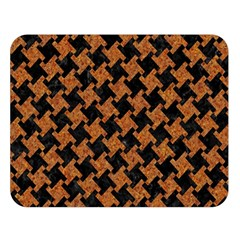 Houndstooth2 Black Marble & Rusted Metal Double Sided Flano Blanket (large)