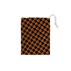 Houndstooth2 Black Marble & Rusted Metal Drawstring Pouches (xs)  by trendistuff