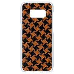 Houndstooth2 Black Marble & Rusted Metal Samsung Galaxy S8 White Seamless Case by trendistuff