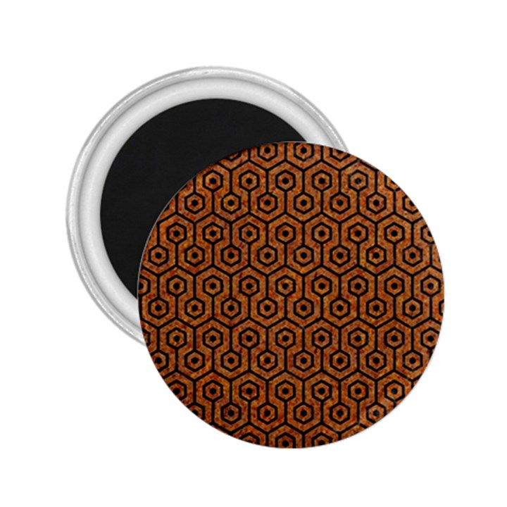 HEXAGON1 BLACK MARBLE & RUSTED METAL 2.25  Magnets