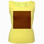HEXAGON1 BLACK MARBLE & RUSTED METAL Women s Yellow Tank Top