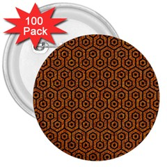 Hexagon1 Black Marble & Rusted Metal 3  Buttons (100 Pack)  by trendistuff