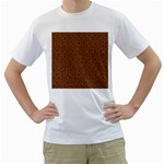 HEXAGON1 BLACK MARBLE & RUSTED METAL Men s T-Shirt (White) (Two Sided)