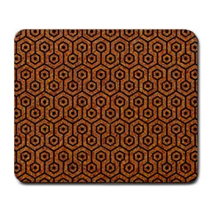 Hexagon1 Black Marble & Rusted Metal Large Mousepads