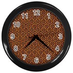 HEXAGON1 BLACK MARBLE & RUSTED METAL Wall Clocks (Black)