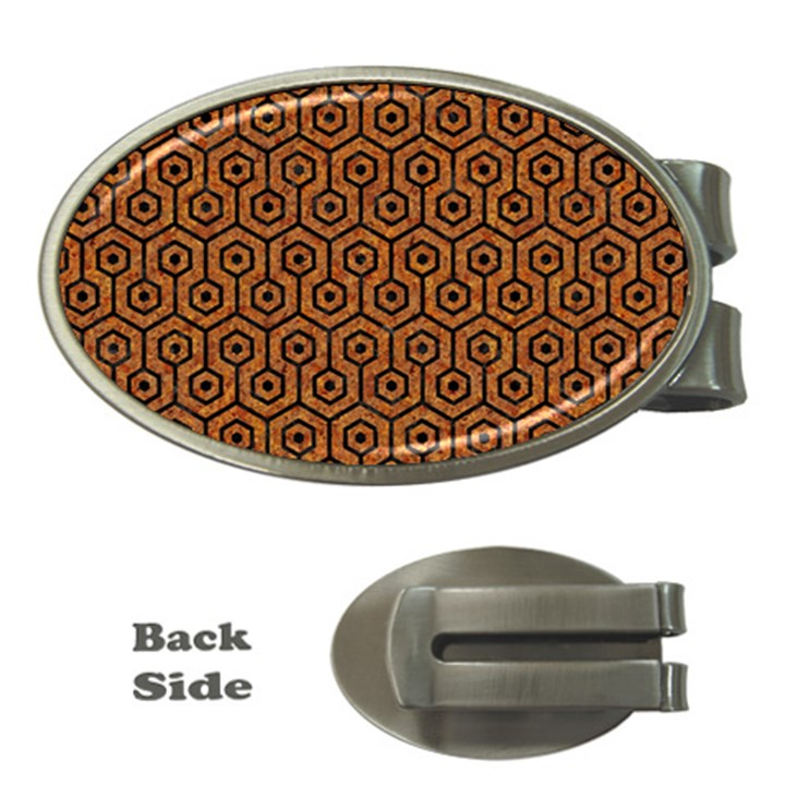 HEXAGON1 BLACK MARBLE & RUSTED METAL Money Clips (Oval)