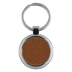 HEXAGON1 BLACK MARBLE & RUSTED METAL Key Chains (Round)