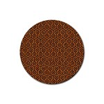 HEXAGON1 BLACK MARBLE & RUSTED METAL Rubber Coaster (Round)