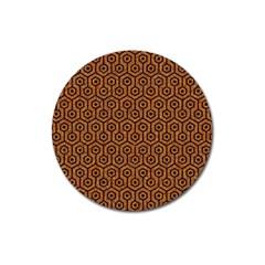 Hexagon1 Black Marble & Rusted Metal Magnet 3  (round) by trendistuff
