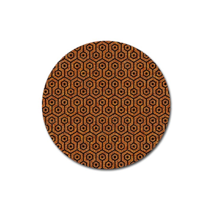 HEXAGON1 BLACK MARBLE & RUSTED METAL Magnet 3  (Round)