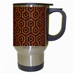 HEXAGON1 BLACK MARBLE & RUSTED METAL Travel Mugs (White) Right