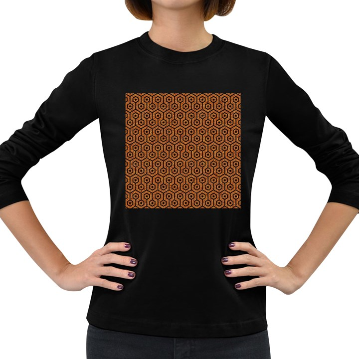 HEXAGON1 BLACK MARBLE & RUSTED METAL Women s Long Sleeve Dark T-Shirts