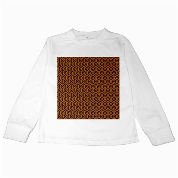 HEXAGON1 BLACK MARBLE & RUSTED METAL Kids Long Sleeve T-Shirts