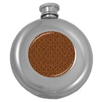 HEXAGON1 BLACK MARBLE & RUSTED METAL Round Hip Flask (5 oz) Front