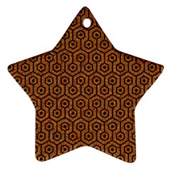 Hexagon1 Black Marble & Rusted Metal Star Ornament (two Sides) by trendistuff