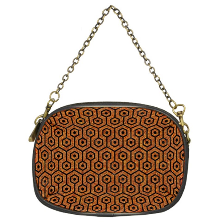 HEXAGON1 BLACK MARBLE & RUSTED METAL Chain Purses (Two Sides)