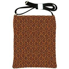 Hexagon1 Black Marble & Rusted Metal Shoulder Sling Bags by trendistuff