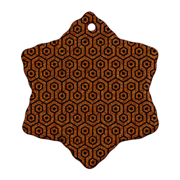 HEXAGON1 BLACK MARBLE & RUSTED METAL Ornament (Snowflake)